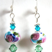 Pink Rose Flower Lampwork Glass Earrings Handmade by saracom