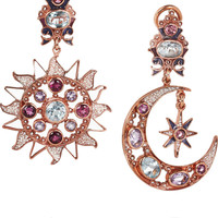 Percossi Papi | Sun and Moon rose gold-plated multistone earrings | NET-A-PORTER.COM
