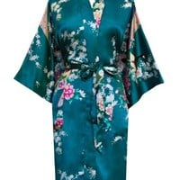 Old Shanghai Women's Kimono Robe - Peacock & Blossoms (Short)