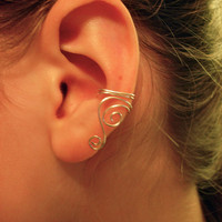 Pair of Silver Plated Ear Cuff with Swirls by jhammerberg on Etsy