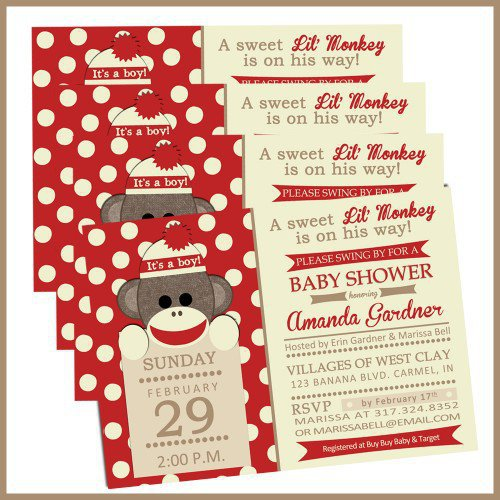 sock monkey baby shower invitations for from lullabyloo on baby