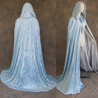 Lined Light Blue Velvet Silver Satin Cloak - Medieval Renaissance Costume by Artemisia Designs