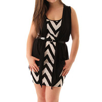 Black White Chic Zig Zag Stripe Plus Size Dress With Belt