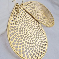 Patterned Golden Feather Light Teardrop Earrings | BrooklynArts - Jewelry on ArtFire