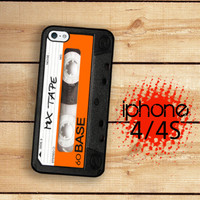 iPhone Case Mix Tape Cassette Tape Orange and Black /Hard Case For iPhone 4 and iPhone 4S  Rubber Trim