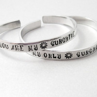 Personalized Friendship Bracelet SET OF TWO - You Are My Sunshine - Hand Stamped Aluminum Cuff - customizable