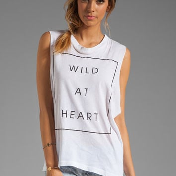 Wildfox Couture Wildest Heart Muscle Tank in Clean White from REVOLVEclothing.com