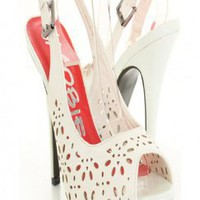 White Faux Leather Perforated Peeptoes Slingback Platform Heels @ Amiclubwear Heel Shoes online store sales:Stiletto Heel Shoes,High Heel Pumps,Womens High Heel Shoes,Prom Shoes,Summer Shoes,Spring Shoes,Spool Heel,Womens Dress Shoes,Prom Heels,Prom Pumps