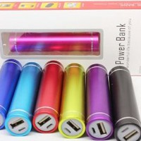 Lightahead 2600 mAh Lipstick Power Bank Portable colored Round External Battery Charger For iPhone5 4S 4 3GS i9300 available in Red Blue Silver Pink Purple Black Green silver (Hot Pink)