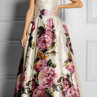 Dolce & Gabbana | Rose-print silk mikado dress | NET-A-PORTER.COM
