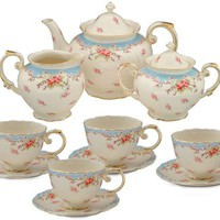 Gracie China Vintage Blue Rose Porcelain 11-Piece Tea Set, Blue:Amazon:Kitchen & Dining