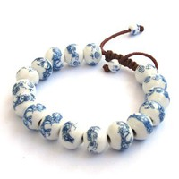 Hand Crafted Vintage Style Porcelain Dragon Beads Bracelet:Amazon:Jewelry