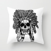 Chief Skull Throw Pillow by Mike Thompson | Design + Illustration