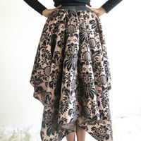 Gold and Black Full Skirt, High Low Skirt, Handkerchief Skirt, Mullet Skirt