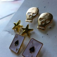 Skull Stars and Playing Cards Stud Earring Set