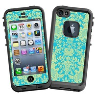 Vintage Blue Green Damask Skin  for the iPhone 5 Lifeproof Case by skinzy.com