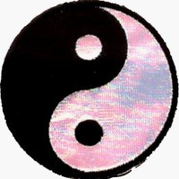 """Yin Yang - 2 1/2"""" Black & White IRIDESCENT - Embroidered Iron On or Sew On Patch:Amazon:Clothing"""
