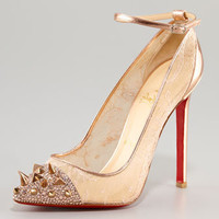 Christian Louboutin Picks &amp; Co Potpourri Spiked Toe &amp; Lace Pump - Neiman Marcus