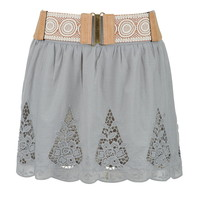 Cut Out Embroidered Belted Skirt