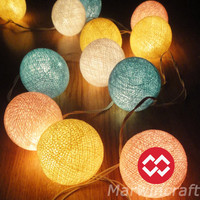 Battery Powered LED Bulbs 20 Mixed Pastel Night Cotton Balls Fairy String Lights Party Patio Wedding Floor Hanging Gift Home Decor 4 Metres