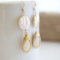 Fresh Water Pearl Earrings Wire Wrapped Earrings by Jewels2Luv
