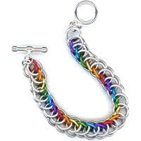 Rainbow Chainmaille Bracelet Half Persian Weave, LGBT Pride, Chakras