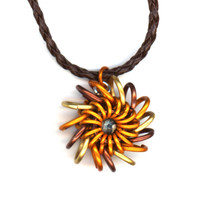 Chainmaille Pendant Brass Bronze Copper Color Whirlybird, Leather Cord Necklace