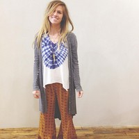 Free People Womens Ribbed Up Maxi Cardigan -