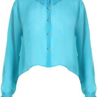 LOVE Aqua Short Swing Shirt With Pink Lace Heart  - In Love With Fashion