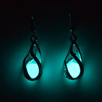 Mermaid's Magic - White Gold Earrings - Ocean Blue Glow in the Dark - Set of Two Dangle Style Earrings