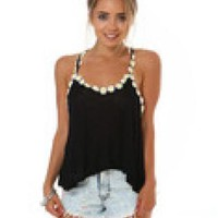 Daisy Crop Top Black