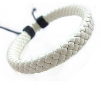 White Leather Bracelet by mooli on ETSY