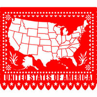 United States Papel Picado Map Print 8 x 10