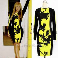 Women Celeb Style Floral Ladies Bodycon Tunic Black Party Midi Pencil Dress 1425