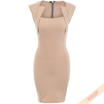 Panelled Bodycon Dress Shift Pencil WiggleFormal Work Business Office Party 9203