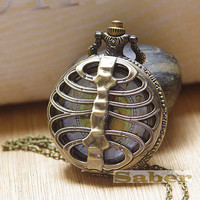 Steampunk Retro Hollow Skeleton Pocket Watch Necklace G118