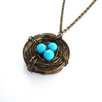 Mother's Day Jewelry Bird Nest Necklace by ASimpleKindOfFancy