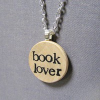 Hand Stamped Literary Book Lover Reading Necklace in Typewriter Font | TheWanderingReader - Jewelry on ArtFire