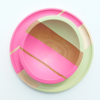 Modern Pastel Hardwood 7 Bowl by nicoleporterdesign on Etsy
