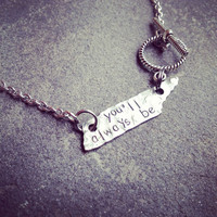 """unique """"you'll always be..."""" home sweet home to me, rocky top inspired Tennessee state tag necklace"""