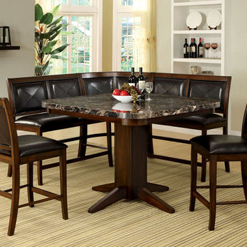 black faux marble top counter height dining table set with bench style