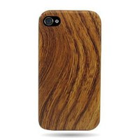 WIRELESS CENTRAL Brand Hard Fabric Back Snap-on Shield With WALNUT WOOD Design Faceplate Cover Sleeve Case for APPLE IPHONE 4 4S [WCE1009]