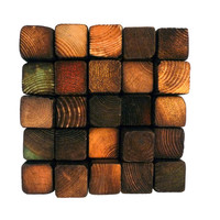 Colored and Burnt Wooden Wall Sculpture - Smoke Damaged Mini Stacks