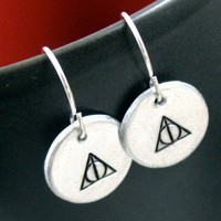 Deathly Hallows Earrings - Hand Stamped Harry Potter Jewelry | foxwise - Jewelry on ArtFire