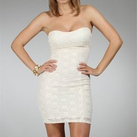 Ivory Strapless Sparkly Dresses