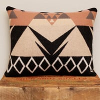 Geometric Wool Pillow // Triangle / Rose Black White
