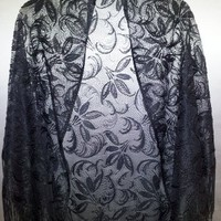 Beautiful Black Swirl Pattern Lace Shawl