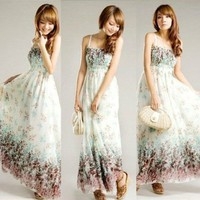 Vintage Floral Print White Boho Exotic Summer Beach Chiffon Long Maxi Dress:Amazon:Home & Kitchen