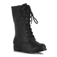 Ellie Shoes Kids Superhero Mid Calf Black Lace Up Combat Boots