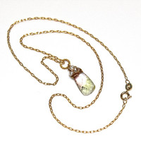 Pastel Watermelon Tourmaline Pendant Necklace Wire Wrapped Delicate Necklace Gemstone Jewelry